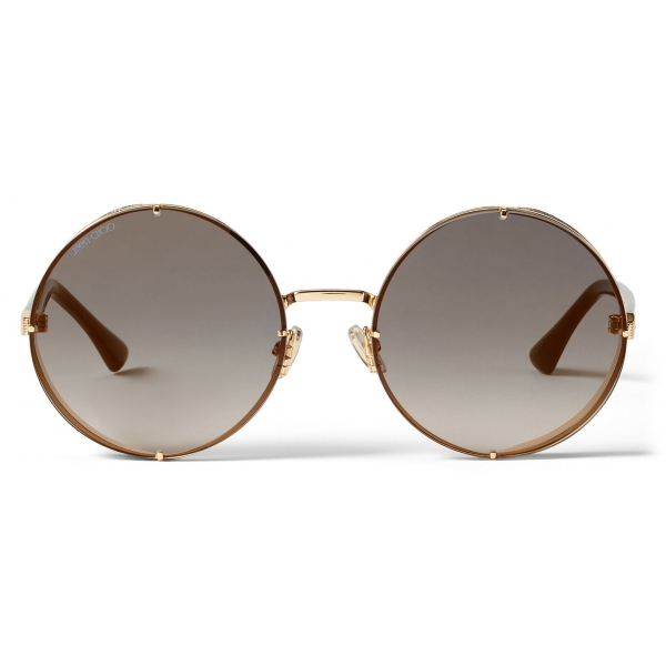 Jimmy Choo - Lilo - Rose-Gold Metal Round Sunglasses with Grey-Shaded Mirror Lenses - Jimmy Choo Eyewear
