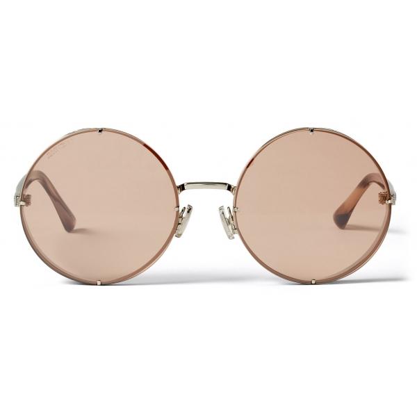 Jimmy Choo - Lilo - Occhiali da Sole Rotondi Palladio con Lenti a Specchio Sfumate Rosa - Jimmy Choo Eyewear