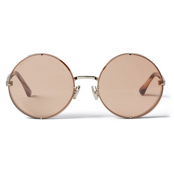 Jimmy Choo - Lilo - Palladium Round Sunglasses with Pink-Shaded Mirror Lenses - Jimmy Choo Eyewear