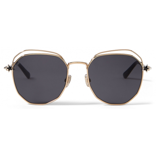 Jimmy Choo - Franny - Palladium and Rose-Gold Hexagon Sunglasses with Crystal Grey Silver Mirror Lenses