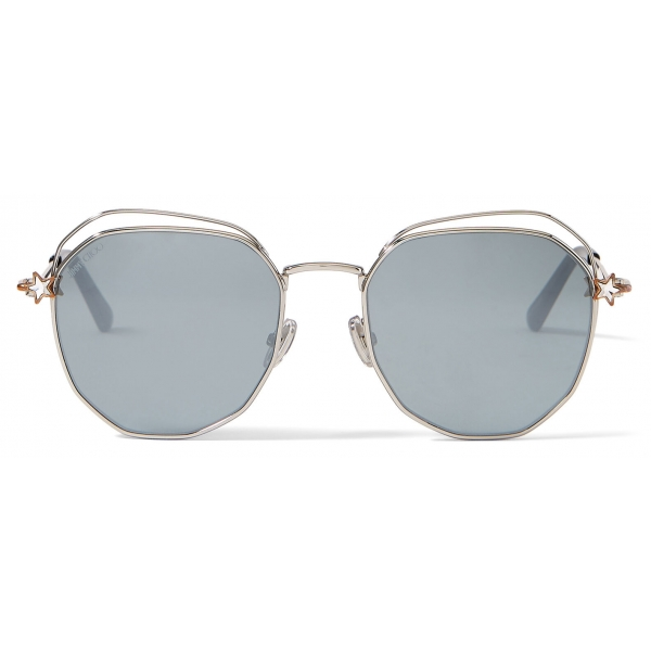 Jimmy Choo - Franny - Rose-Gold and Palladium Hexagon Sunglasses with Grey Lenses