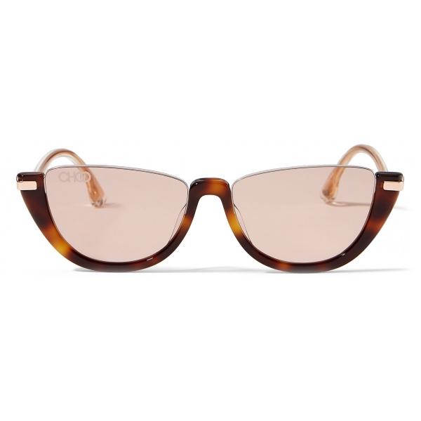 Jimmy Choo - Iona - Occhiali da Sole Cat Eye in Acetato Avana Scuro con Lenti a Specchio Rosa-Oro