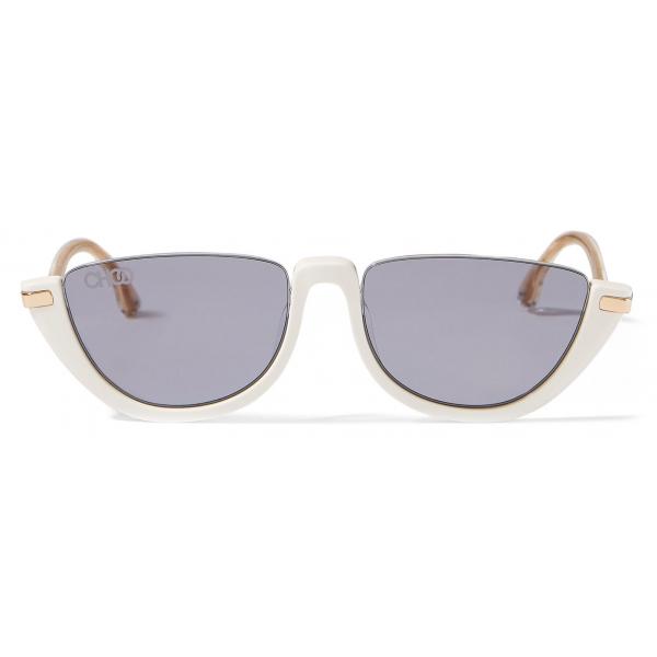Jimmy Choo - Iona - Occhiali da Sole in Acetato Bianco con Lenti a Specchio Color Malva - Jimmy Choo Eyewear