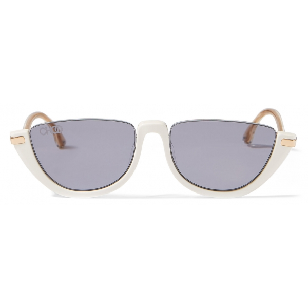 Jimmy Choo - Iona - White Acetate Sunglasses with Mauve-Shaded Mirror Lenses - Jimmy Choo Eyewear