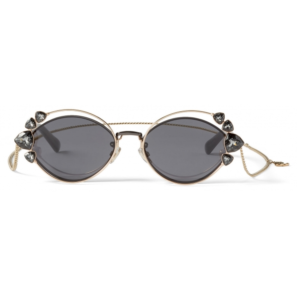 Jimmy Choo - Shine - Black Ruthenium Sunglasses with Grey Lenses and Clip-On Chain Embellishment - Jimmy Choo Eyewear