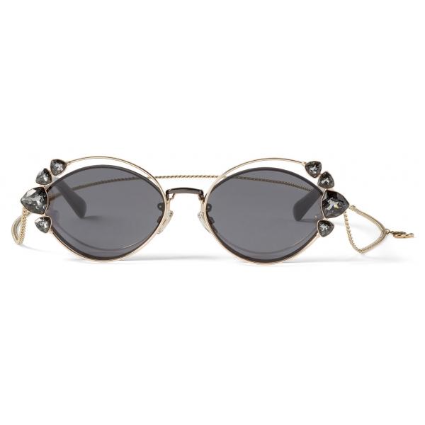 Jimmy Choo - Shine - Occhiali da Sole in Rutenio Nero con Lenti Grigie e Decorazione a Catena con Clip - Jimmy Choo Eyewear