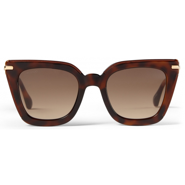 Jimmy Choo - Ciara - Brown Cat Eye Sunglasses with Rose Gold Temples - Jimmy Choo Eyewear