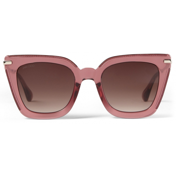 Jimmy Choo - Ciara - Burgundy Cat Eye Sunglasses with Light Gold Temples - Jimmy Choo Eyewear