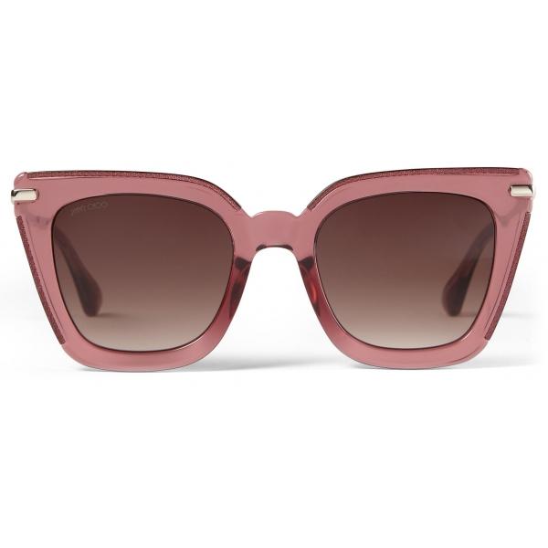 Jimmy Choo - Ciara - Occhiali da Sole Cat Eye Bordeaux con Aste in Oro Chiaro - Jimmy Choo Eyewear