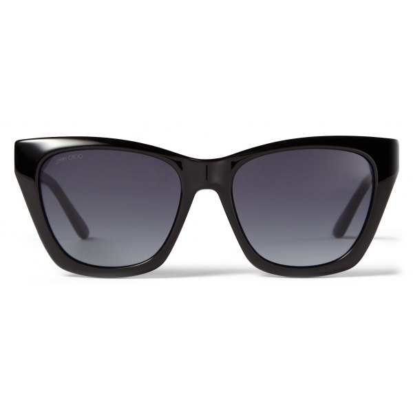 Jimmy Choo - Rikki - Black Cat Eye Sunglasses with Glitter Choo Logo - Jimmy Choo Eyewear