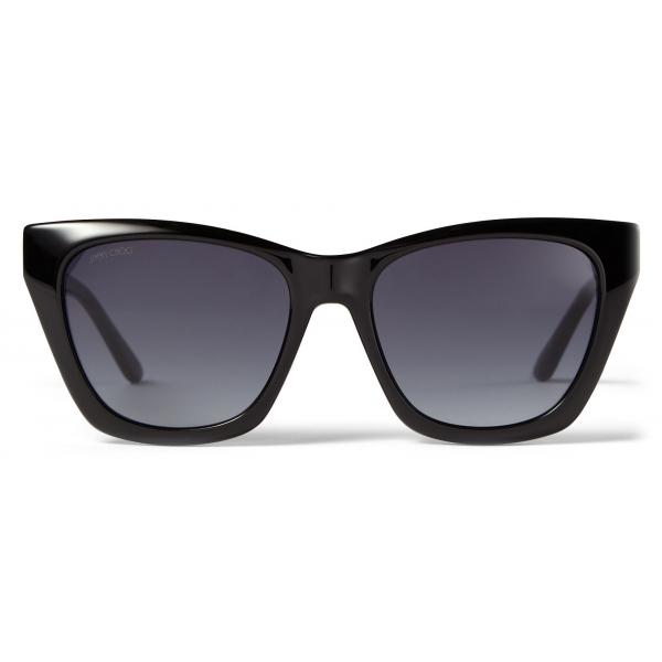 Jimmy Choo - Rikki - Occhiali da Sole Cat Eye Neri con Logo Choo Glitterato - Jimmy Choo Eyewear
