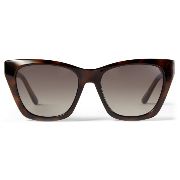 Jimmy Choo - Rikki - Brown Tortoiseshell Havana Cat Eye Sunglasses with Glittered Choo Logo - Jimmy Choo Eyewear