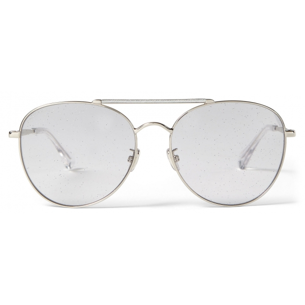 Jimmy Choo - Abbie - Lilac Glitter Aviator Sunglasses with Palladium Frame - Jimmy Choo Eyewear