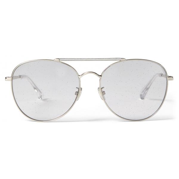 Jimmy Choo - Abbie - Occhiali da Sole Aviatore Glitter Lilla con Montatura in Palladio - Jimmy Choo Eyewear