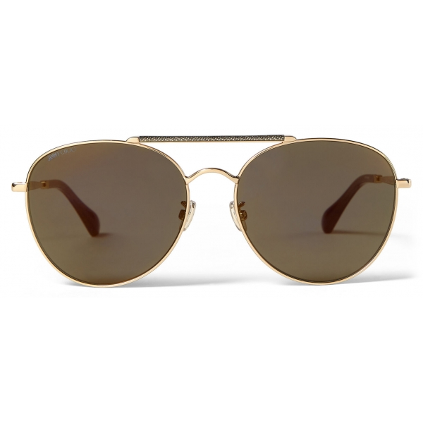 Jimmy Choo - Abbie - Gold Glitter Aviator Sunglasses with Mirror Lenses and Metal Frame - Jimmy Choo Eyewear