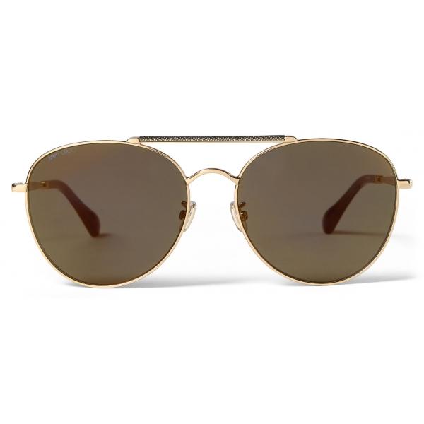 Jimmy Choo - Abbie - Occhiali da Sole Aviatore Glitter Oro con Lenti a Specchio E Montatura in Metallo - Jimmy Choo Eyewear