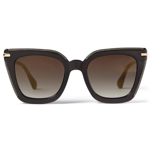 Jimmy Choo - Ciara - Occhiali da Sole Cat Eye Grigi e Oro Rosa con Lenti a Specchio e Montatura in Metallo - Jimmy Choo Eyewear