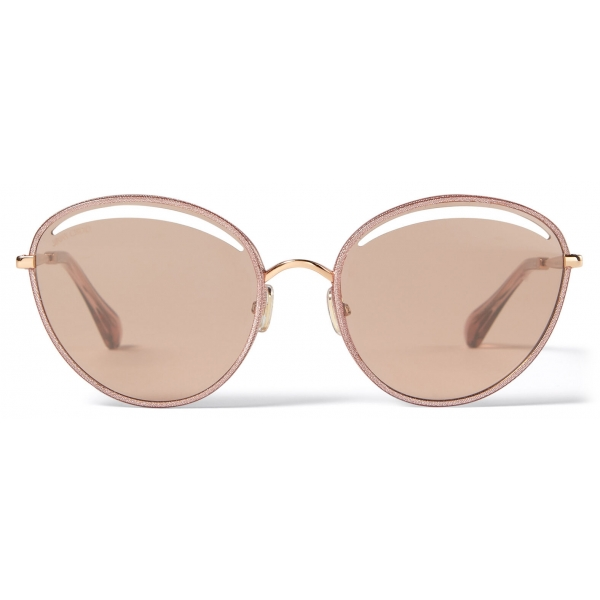 Jimmy Choo - Malya - Copper Gold Oval Sunglasses with Pink Lamé Glitter - Jimmy Choo Eyewear