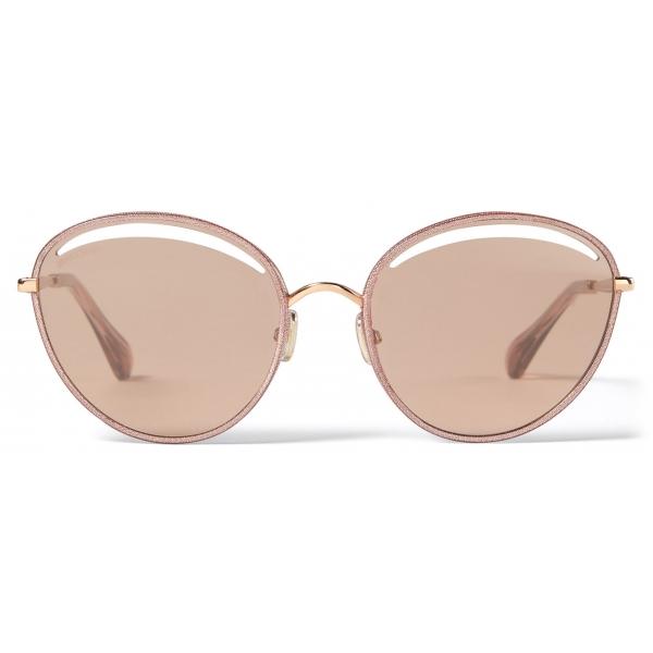 Jimmy Choo - Malya - Occhiali da Sole Ovali in Rame Dorato con Glitter Lamé Rosa - Jimmy Choo Eyewear