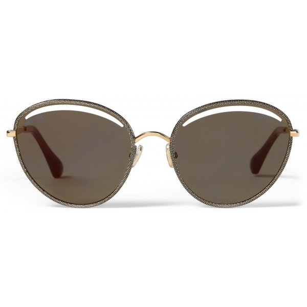 Jimmy Choo - Malya - Rose Gold Oval Sunglasses with Gold Lamé Glitter - Jimmy Choo Eyewear