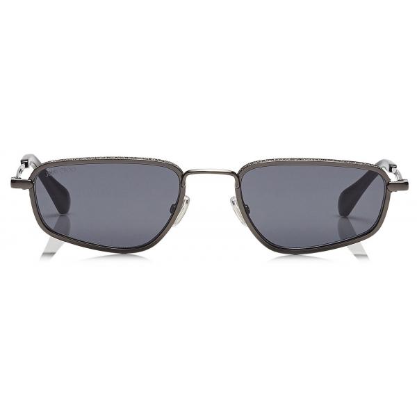 Jimmy Choo - Gal - Occhiali da Sole Alla Moda Grigi con Montatura Nera - Jimmy Choo Eyewear