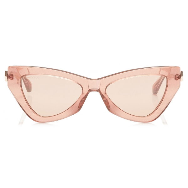 Jimmy Choo - Donna - Pink Flash and Silver Cat Eye Sunglasses with Pink Glitter - Jimmy Choo Eyewear