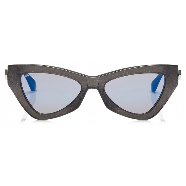 Jimmy Choo - Donna - Blue Sky Mirror Cat Eye Sunglasses with Grey Glitter - Jimmy Choo Eyewear