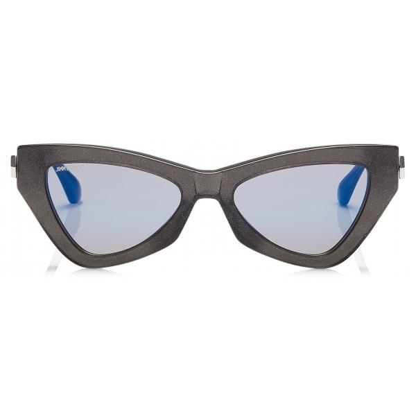 Jimmy Choo - Donna - Occhiali da Sole Cat Eye a Specchio Blue Sky con Glitter Grigio - Jimmy Choo Eyewear