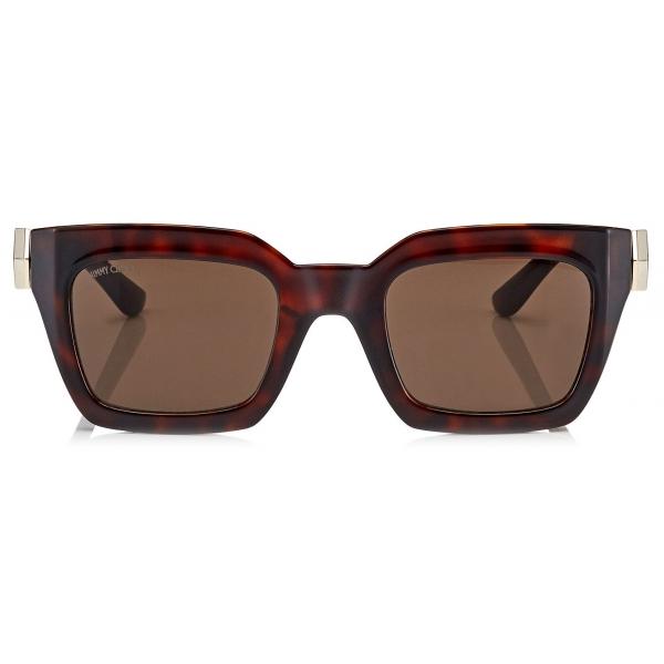 Jimmy Choo - Maika - Brown Cat Eye Sunglasses with Havana Frame - Jimmy Choo Eyewear