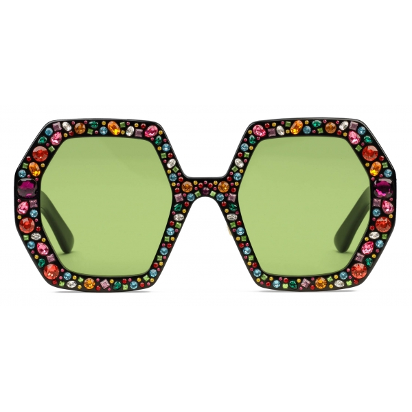 Gucci - Square Acetate Sunglasses with Crystals - Black Green - Gucci Eyewear