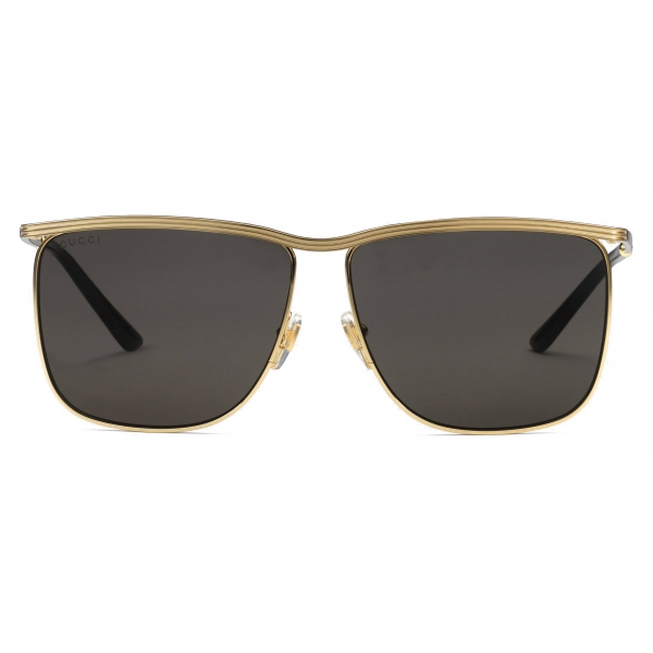 Gucci - Square-Frame Sunglasses - Gold Grey - Gucci Eyewear