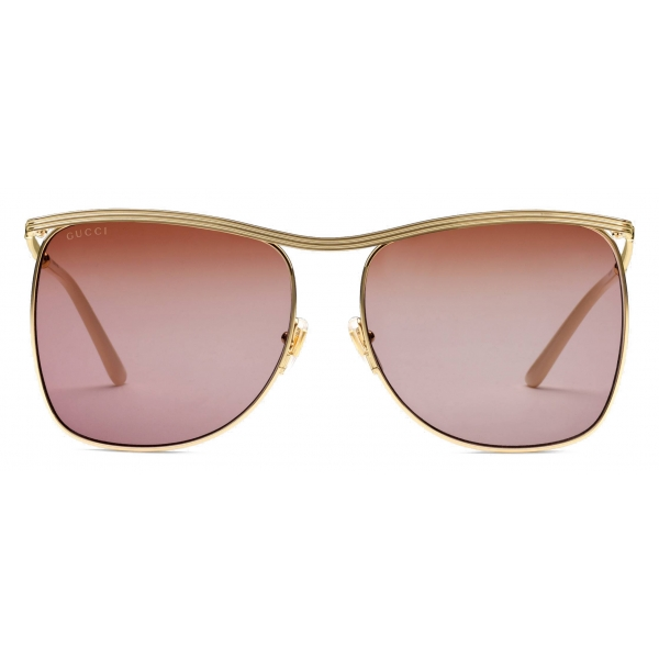 Gucci - Square-Frame Sunglasses - Gold Burgundy - Gucci Eyewear