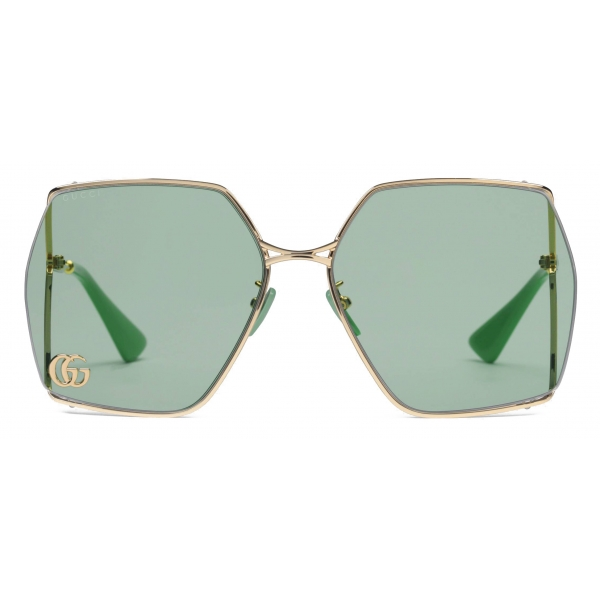 Gucci - Oval-Frame Sunglasses - Gold Light Blue - Gucci Eyewear