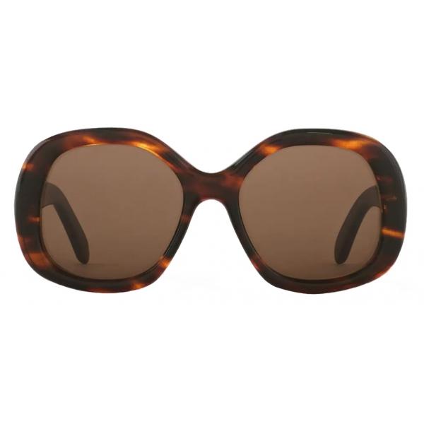 Céline - Occhiali da Sole Rotondi S163 in Acetato - Avana a Righe - Occhiali da Sole - Céline Eyewear