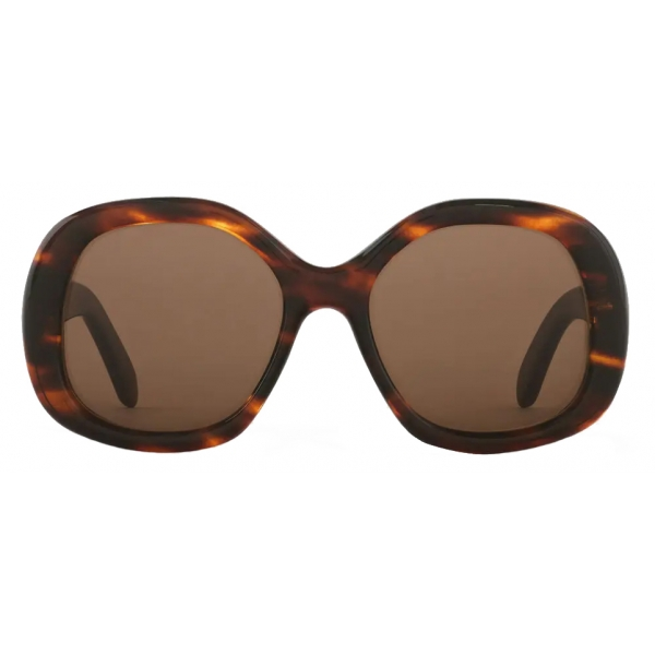 Céline - Round S163 Sunglasses in Acetate - Striped Havana - Sunglasses - Céline Eyewear