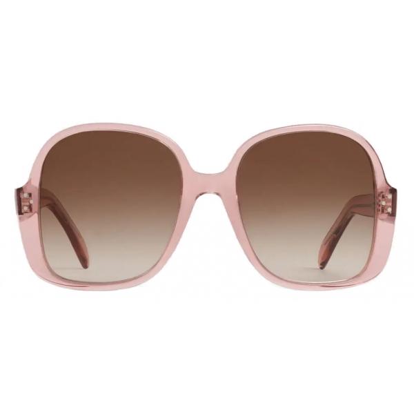 Céline - Oversized S158 Sunglasses in Acetate - Transparent Rose - Sunglasses - Céline Eyewear