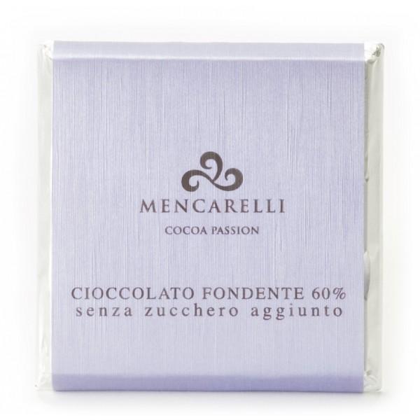 Mencarelli Cocoa Passion - Tavoletta Cioccolato Fondente 60 % Senza Zucchero - Tavoletta Cioccolato 50 g