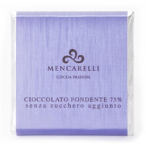 Mencarelli Cocoa Passion - Dark Chocolate Bar 75 % Sugar Free - Chocolate Bar 50 g