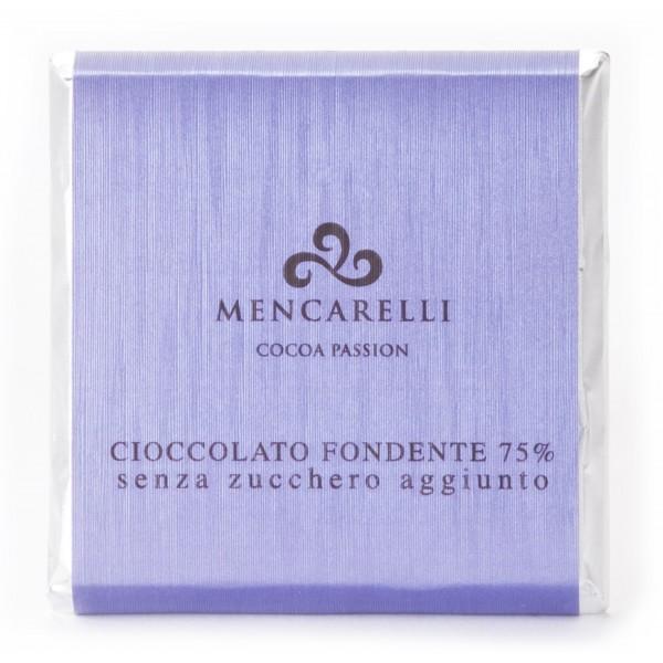 Mencarelli Cocoa Passion - Tavoletta Cioccolato Fondente 75 % Senza Zucchero - Tavoletta Cioccolato 50 g