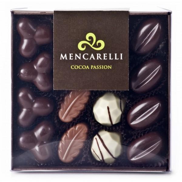 Mencarelli Cocoa Passion - Transparent Box 16 Pralines Assorted - Artisan Chocolates 160 g