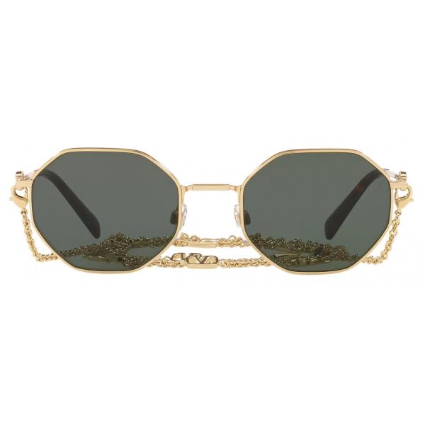 Valentino - Occhiale da Sole Ottagonale in Metallo con Catena Vlogo Signature - Oro Verde - Valentino Eyewear