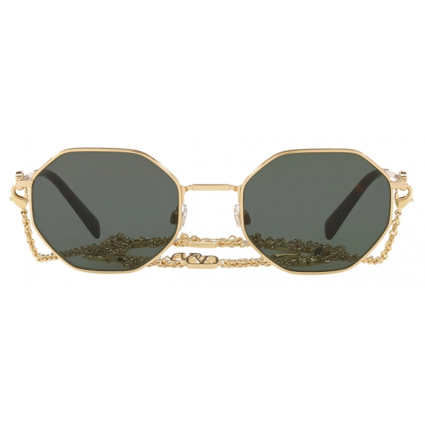 Valentino - Octagonal Metal Frame with Vlogo Signature Chain Sunglasses - Gold Green - Valentino Eyewear