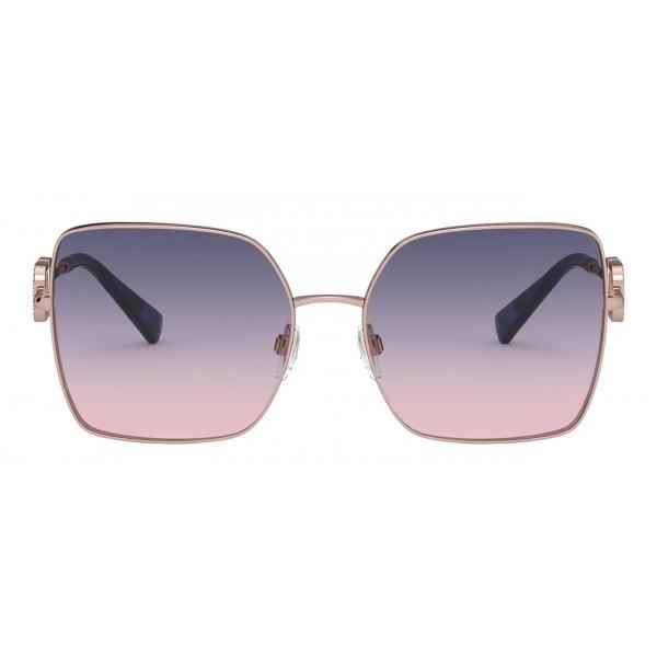 Valentino - Occhiale da Sole Squadrato in Metallo Vlogo Signature Cristalli - Oro Rosa - Valentino Eyewear