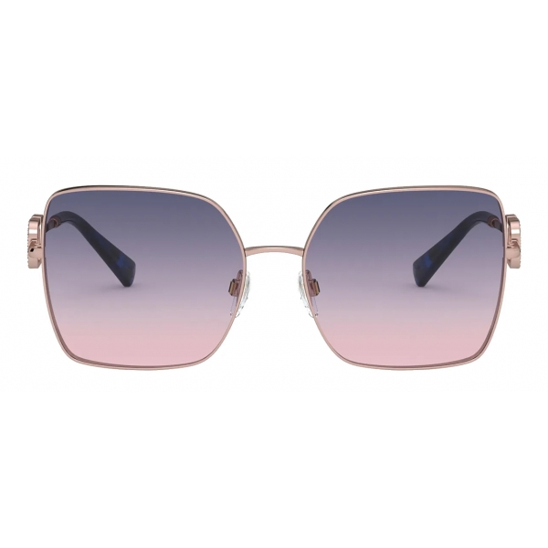 Valentino - Squared Metal Frame with Vlogo Signature Crystals Sunglasses - Gold Pink - Valentino Eyewear