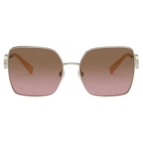 Valentino - Occhiale da Sole Squadrato in Metallo Vlogo Signature Cristalli - Oro Marrone - Valentino Eyewear
