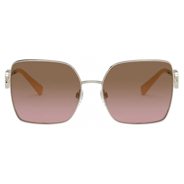 Valentino - Squared Metal Frame with Vlogo Signature Crystals Sunglasses - Gold Brown - Valentino Eyewear