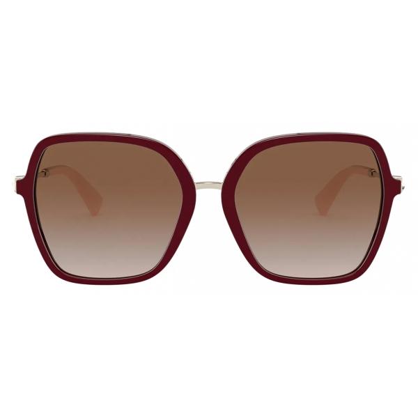 Valentino - Occhiale da Sole Squadrato in Acetato con Stud Funzionale - Bordeaux Marrone - Valentino Eyewear