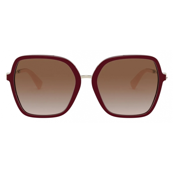 Valentino - Squared Acetate Frame with Functional Stud Sunglasses - Maroon Brown - Valentino Eyewear
