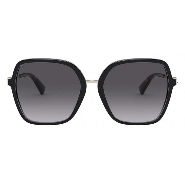 Valentino - Occhiale da Sole Squadrato in Acetato con Stud Funzionale - Nero - Valentino Eyewear