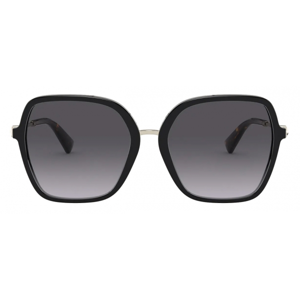 Valentino - Squared Acetate Frame with Functional Stud Sunglasses - Black - Valentino Eyewear